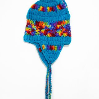 Christmas gifts / hand-woven pure wool hat / flight caps / knitting caps / wool cap - color gradient flowers (handmade limited one)