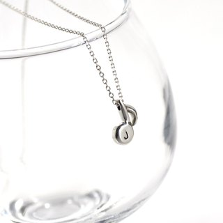 Personalized Initial,Hand Stamped Eighth Note Necklace,Sterling Silver