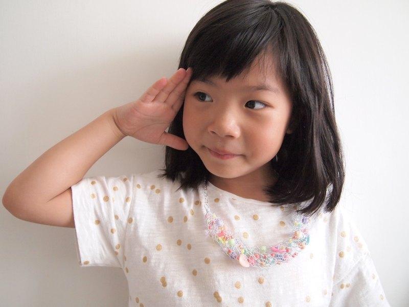 日系親子系列訂製手工編織白色銅線配糖果粉色項鍊套裝