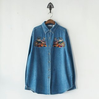 Banana Flyin '| Vintage | playful embroidery neutral tannin cowboy shirt Cubs
