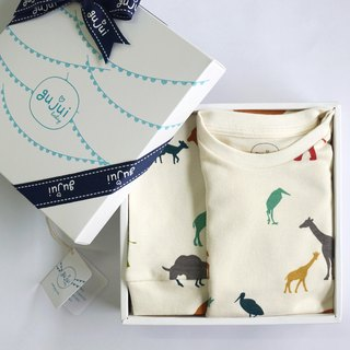 Gujui organic cotton moon gift box - (packing clothes + trousers) - love animals