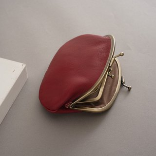 RENÉE Vintage Double Layer Money Bag / Wallet / Gold Bag / Wallet Plant Engraving / Vegetable tanned leather / Vegetable tanned leather Warm red