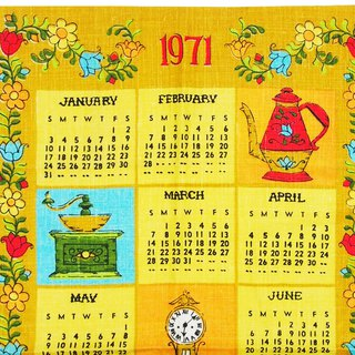 1971 American early years cloth calendar lunch time