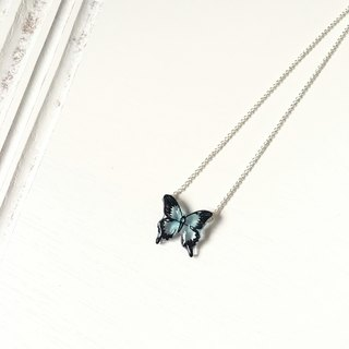 * Haku‧Neko * Beautiful Blue Swallowtail Hand painted Butterfly Necklace