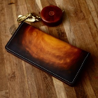 Handmade handmade pots sunset color hand-dyed vegetable tanned leather wallet long wallet female models retro cowhide leather wallet