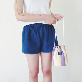 :::Bangstree:: Shoulder Bucket Bag -Greyviolet+White+LightYellow