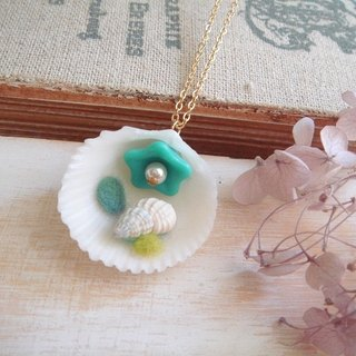 Garohands French Riviera in the small shells shell feel A403 long chain * turquoise gift of nature