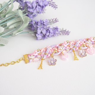 Lilac and light pink eiffel bracelet