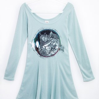 Travel memories feel umbrella swing dress - pupil in the fantasy world (gray green)