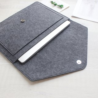 "Original Pure Handmade Dark Gray Felt Apple Computer Case Blouse Set Laptop Bag 15 ""Computer Case MacBook 15.4"" Pro Retina 15 ""(can be tailored) - ZMY110DG15R"