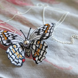 Butterfly embroidery pin and wind cloth butterfly necklace - white and yellow