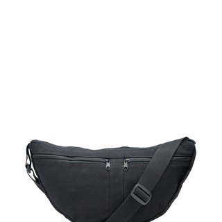 BLACK CANVAS BELT BAG