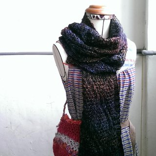 Lan wool scarves (dark blue orange brown gradient)