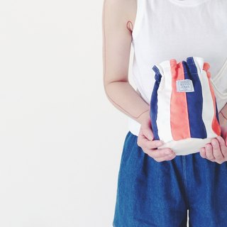 :::Bangstree:: Shoulder Bucket Bag -OrangeRed+White+Navy
