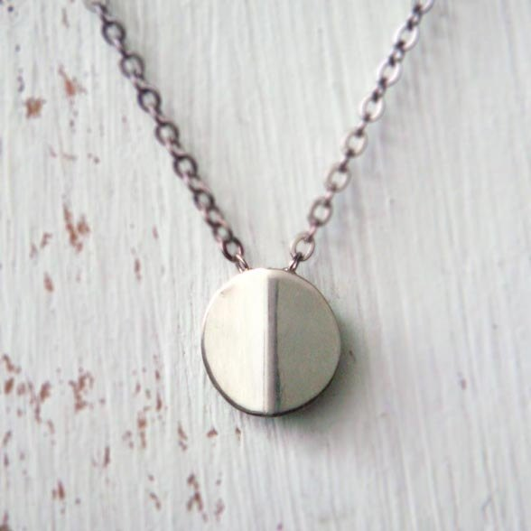 Circle round sterling silver necklace