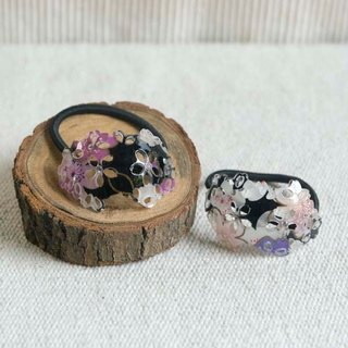 Sakura soft, hollow oval hair, hair ring - purple