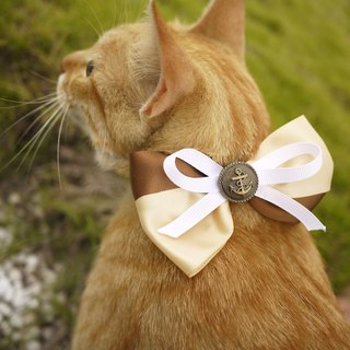 Safe pet collar x coffee milk (coffee and white) cat and dog / neckband / bow tie / tweet ♥ cherry pudding Cherry Pudding ♥