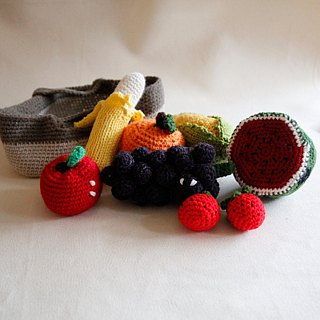 knitting fruits and vegetables basket