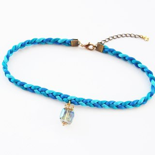 Blue ocean braided choker/necklace with charm