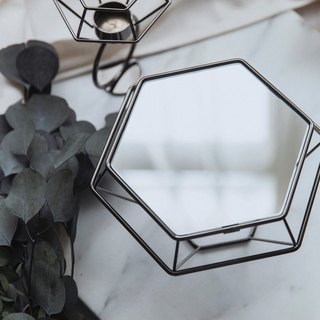 Experimental Project / Zero One / geometric lines - Diamond table mirror accessories Taiwan - nickel black