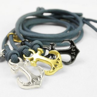 [METALIZE] Anchor with rope bracelet Three-circle umbrella rope bracelet - Sea anchor section - Blue rope