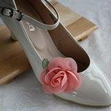 甜美玫瑰花雪紡高跟鞋飾品