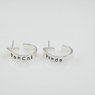 Exclusive lettering silver earrings - handmade, customized (pair)
