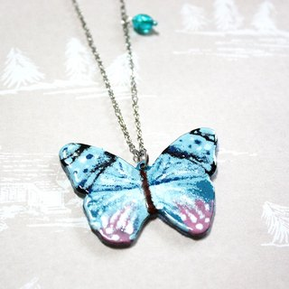 Light blue black enamel butterfly long chain
