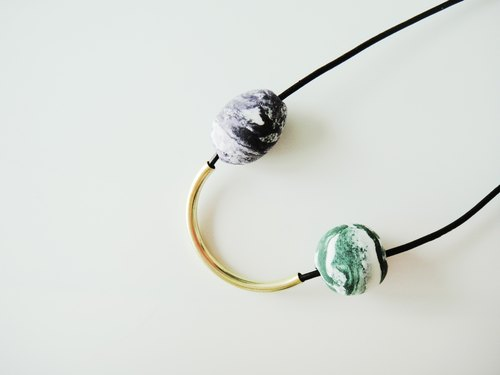 Marble Clay Arc Necklace- purple and green