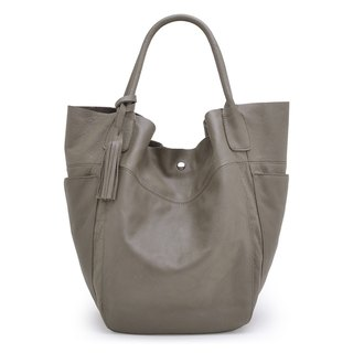 La Poche Secrete : Confident Girl's Side Shoulder Bag_Water Dyeing Cowhide_ Warm Gray
