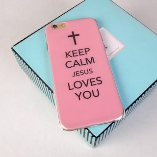 香港原創設計 粉紅色Keep Calm Jesus Loves You圖案 iPhone X,  iPhone 8,  iPhone 8 Plus,  iPhone 7, iPhone 7 Plus, iphone 6/6S , iphone 6/6S PLUS, Samsung Galaxy Note 7 透明手機殼