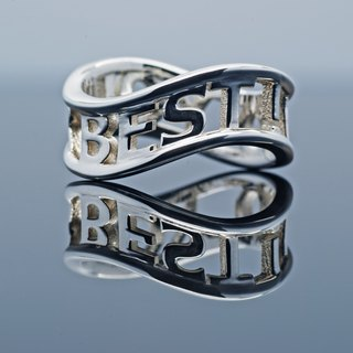 Customized Initial Ring Ring unlimited round frame Wide