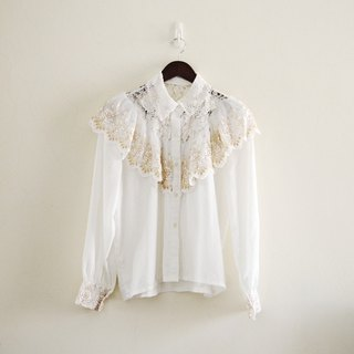 Spend vintage / Made in Korea rose lace embroidered shirt