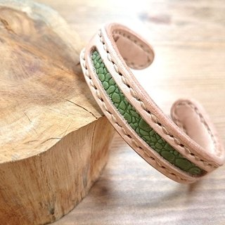 Five lucky hand-made leather _ concentric leather bracelet - copper core increase (s) - Five green