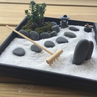 Pure natural Japanese Zen sand table dry landscape succulent lamp gift zen potted
