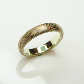 Element47 Jewelry studio~ Karat gold mokume gane wedding ring 07 (14KY/Pd950/ di