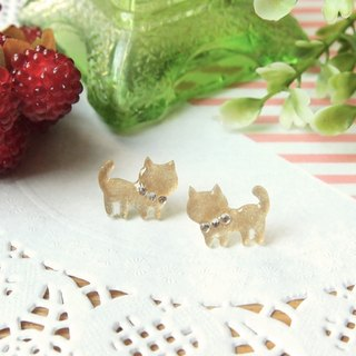 Meow - gold cat earrings