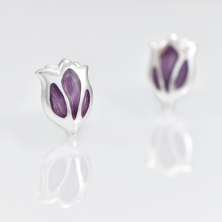 [Wonderland] Tulip 925 Silver Earrings - Iris Purple IRIS