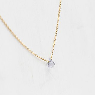 【DECEMBER 12-birthstone-Lolite】Clavicle necklace Brass with 22K Gold plated (adjustable)