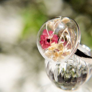 / Forest girl / English dried flowers transparent glass ball ring - colorful red dried flowers