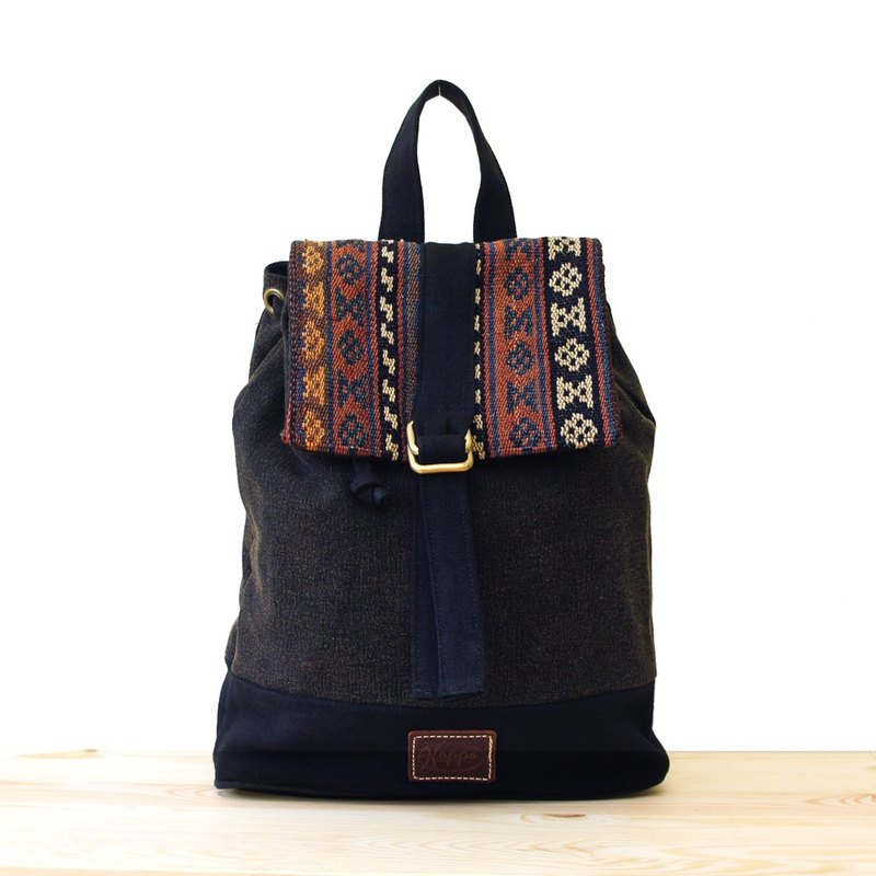 [Happa] after a small fresh canvas backpack - handmade knotted kilim paragraph (black coffee black) autumn backpack bag outing to go