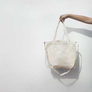 2 way canvas tote bag-White. Long handle