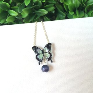 * Haku‧Neko * Blue hand-painted butterfly deep blue cotton bead necklace