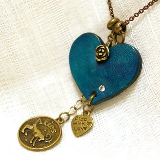 Lucky Heart leather necklace / Keke 1-4 word