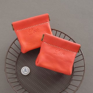"""RENÉE"" Love Limited! Small section Angular shrapnel handmade wallets, vegetable tanned leather carving orange"