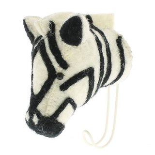 [Fiona Walker England] British style fairy tale animal head handmade Mural - zebra Hook (Big Single Head Hook Zebra)