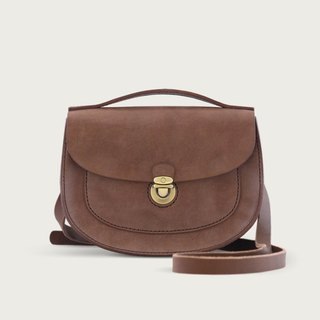 Single Button Saddle Bag / Side Backpack / Shoulder Bag-- Deep Coffee