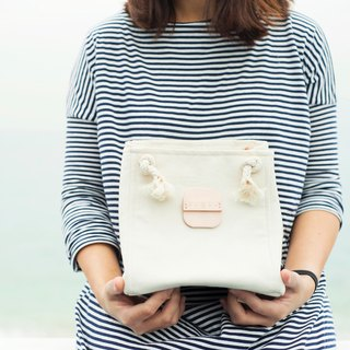 Cotton canvas square bucket bag (Cream Color)