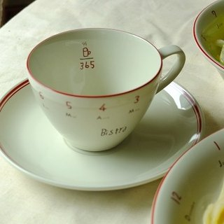 Japan IZAWA BISTRO Paris bistro cup and tray set / cup & saucer red lines