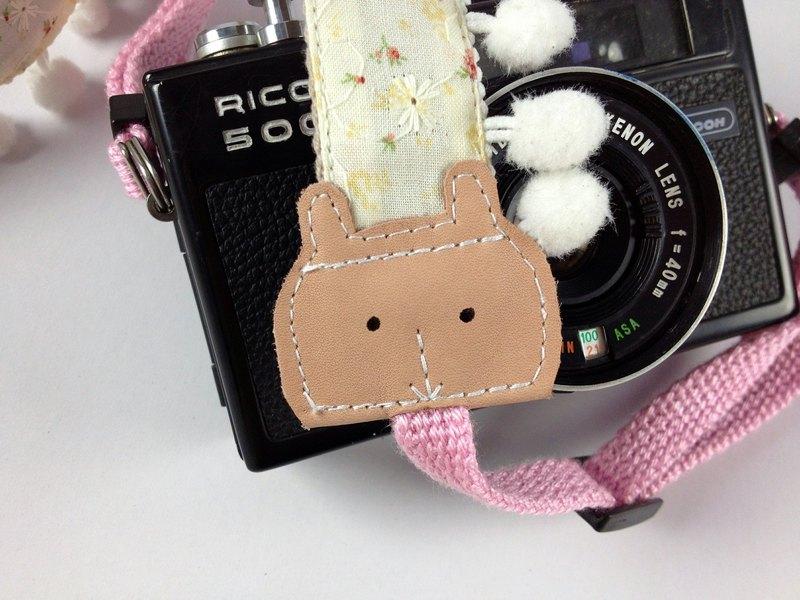 手作單眼.類單眼減壓相機背帶.相機背繩---兔子毛球款